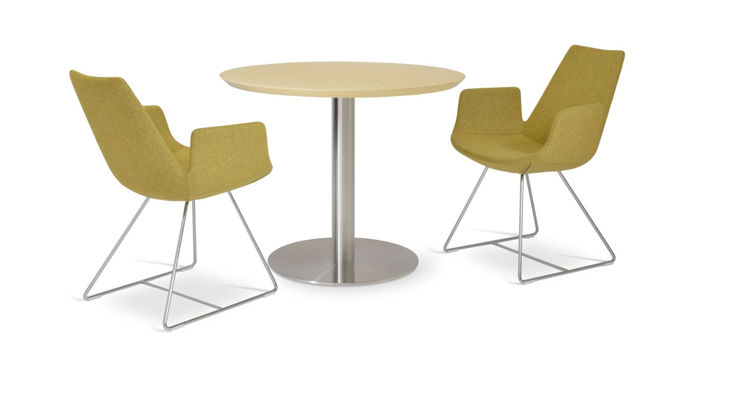 tango_dining_natural_ash_top 35_5 _round_base 22_8 s_ eiffel_arm wire camira_wool amber _ down