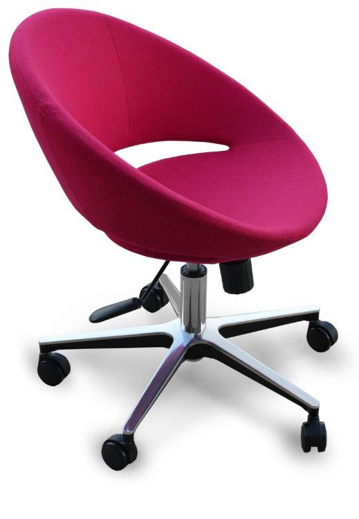 crescent_office_aluminium_base_24 60cm_ankara_wool _red _ down