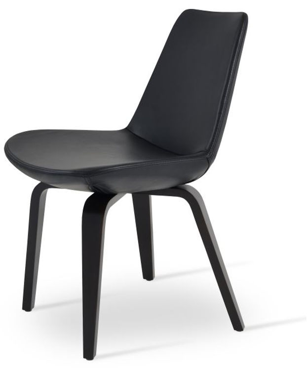 eiffel_dining_chair _gleather black _ plywood _wenge_finish side