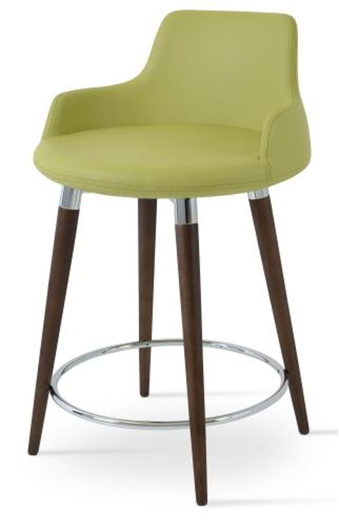 dervish_wood_counter stool _walnut _furni soft_leatherette green_ side