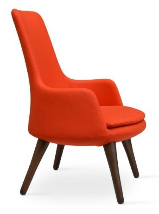 dervish_lounge_high_back _wood _walnut_base camira_wool _orange _1_ side