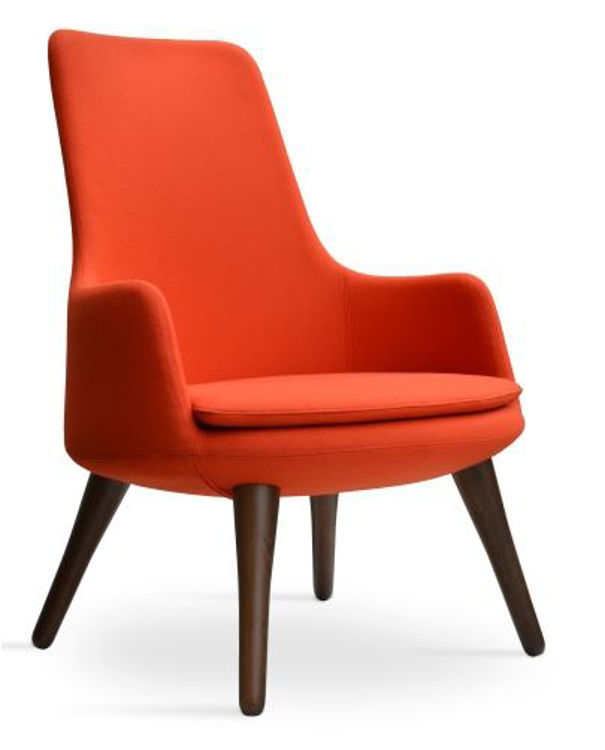 dervish_lounge_high_back _wood _walnut_base camira_wool _orange _2_ side