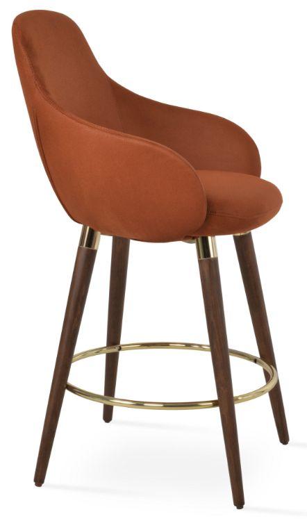 gazel_arm_wodddod_counter_ _walnut_ _gold_ring_ seat_nubuck_fabric_cognac_310_1